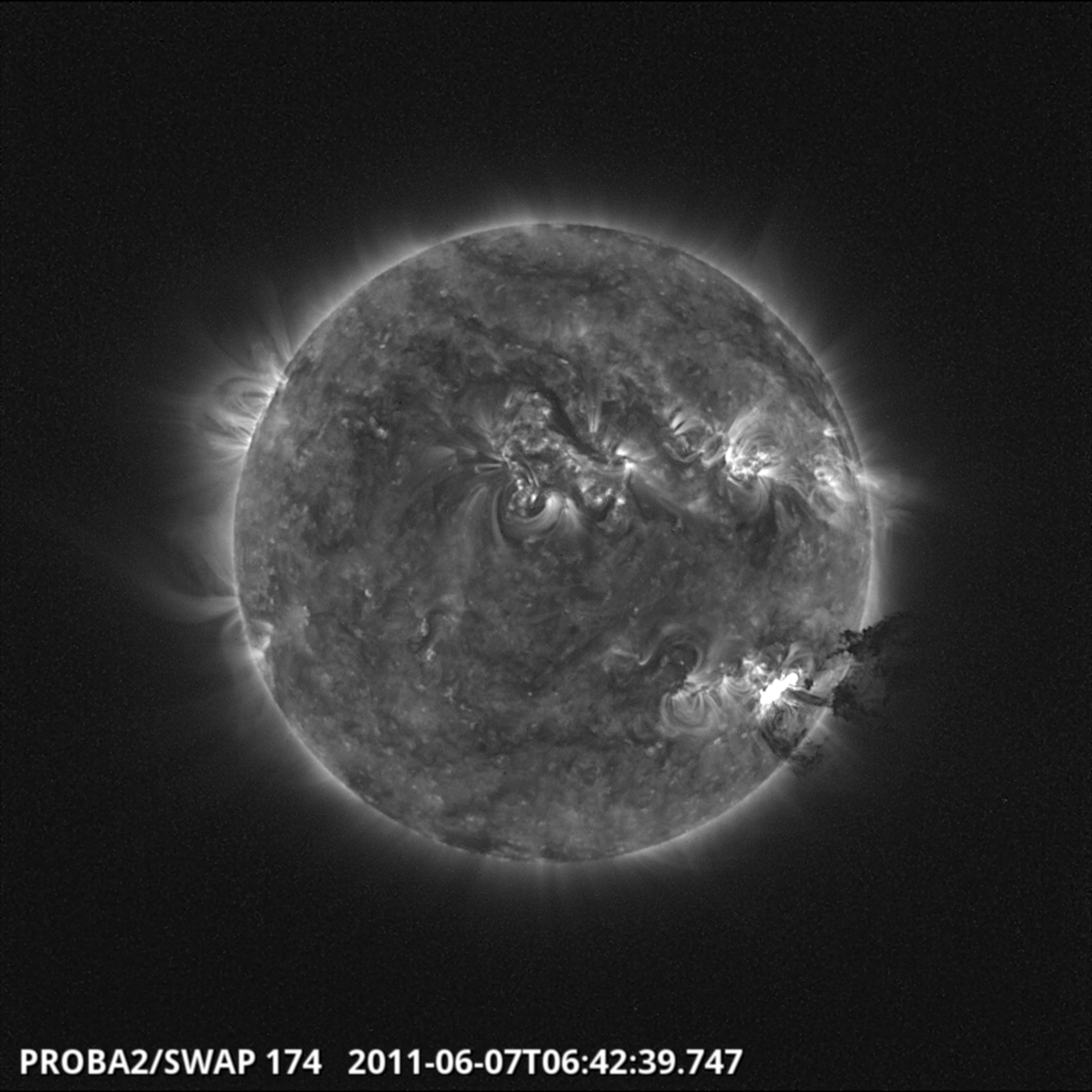 Solar prominence seen in context