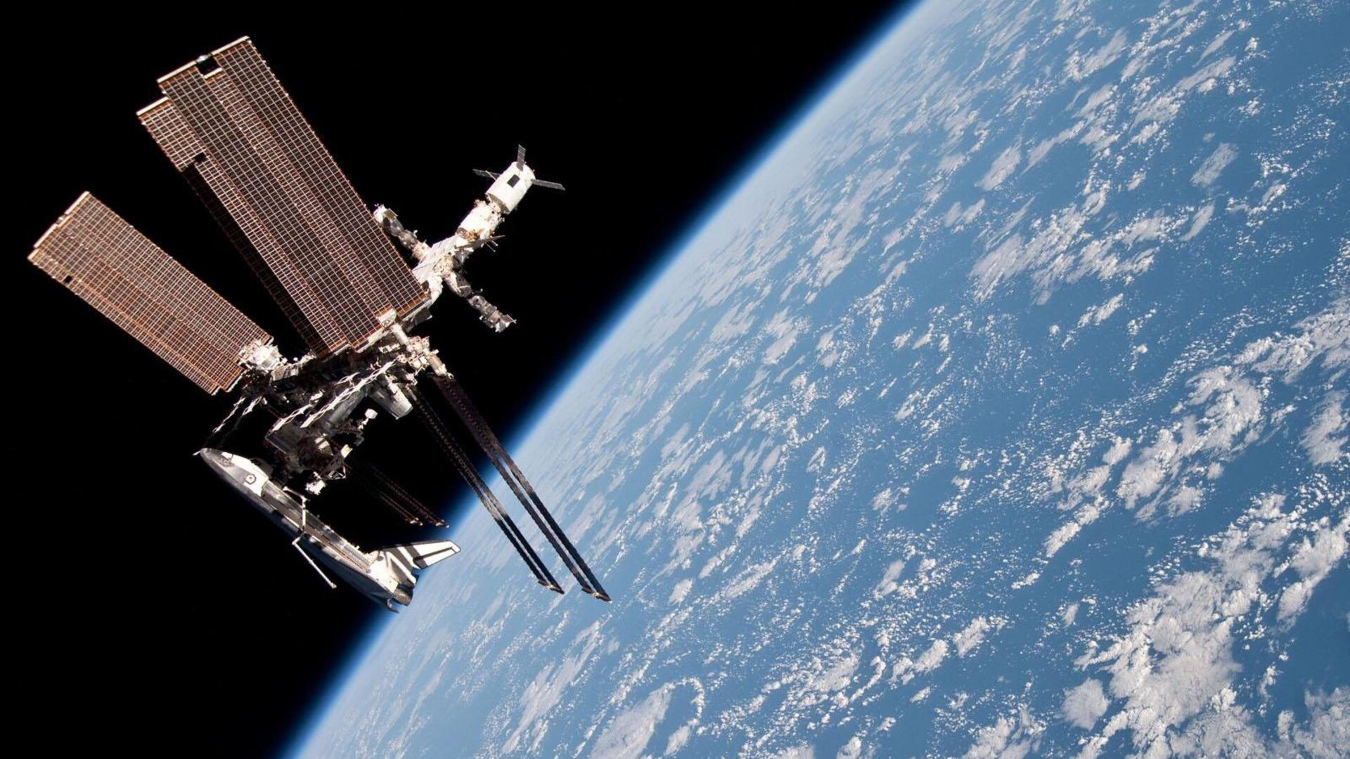 International Space Station with docked ATV, Soyuz and Space Shuttle
