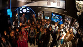 Students and Franco Bonacina visit the ESA pavilion