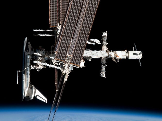 The International Space Station with ATV-2 and Endeavour