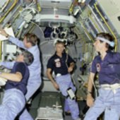 Working inside Spacelab on STS-9