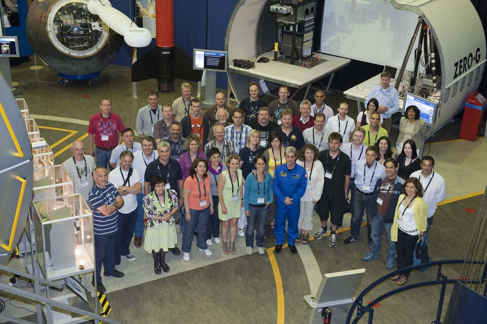 Participants of the ESA Teachers Summer workshop with Léopold Eyharts