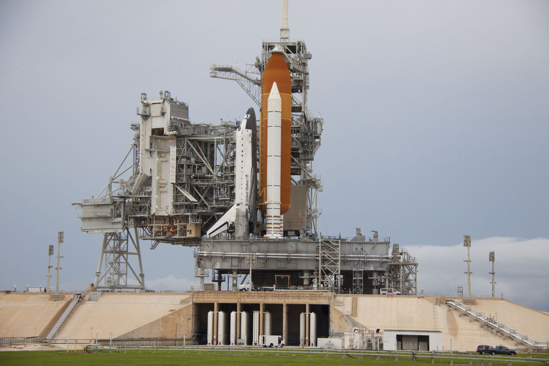 Space shuttle Atlantis on Launch Pad 39A