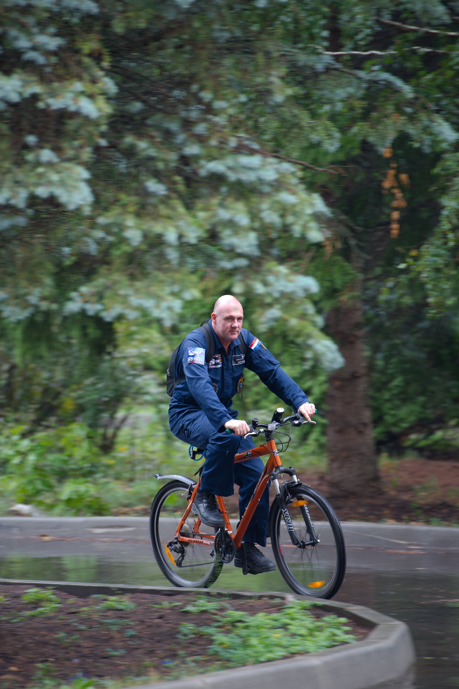 André Kuipers cycling in Star City