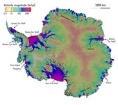 Antarctic ice sheet velocity