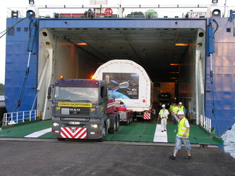 Unloading in Kourou harbour
