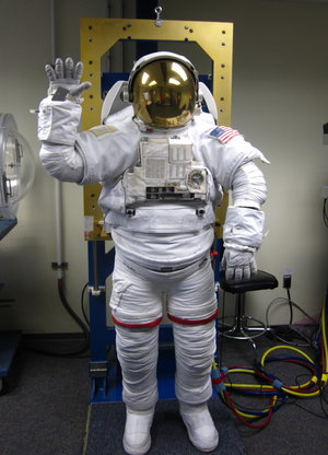 Alexander Gerst at a spacesuit test