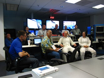 Alexander Gerst in briefing prior spacewalk training