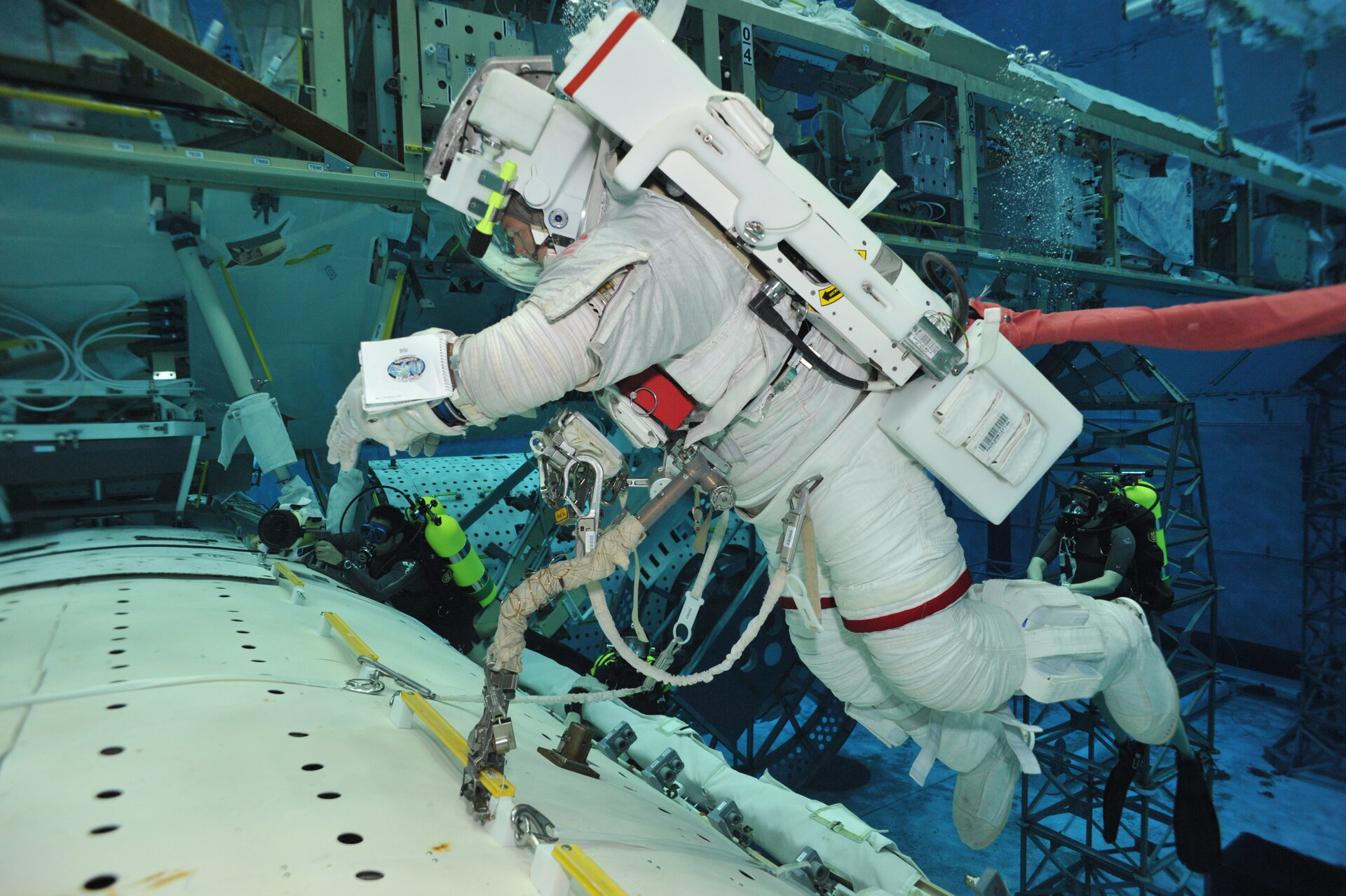 ESA astronaut Alexander Gerst training for spacewalks in the Neutral Buoyancy Facility.
