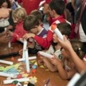 Children building their rocket