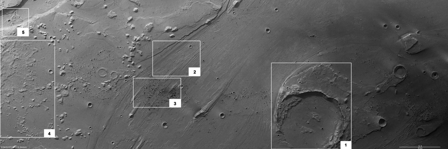 Features in Ares Vallis