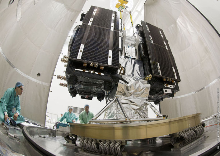Galileo satellites on dispenser