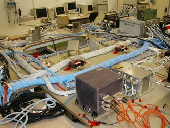 Mars Express Avionics Test Bench highlighting the inter-unit electrical harnesses.