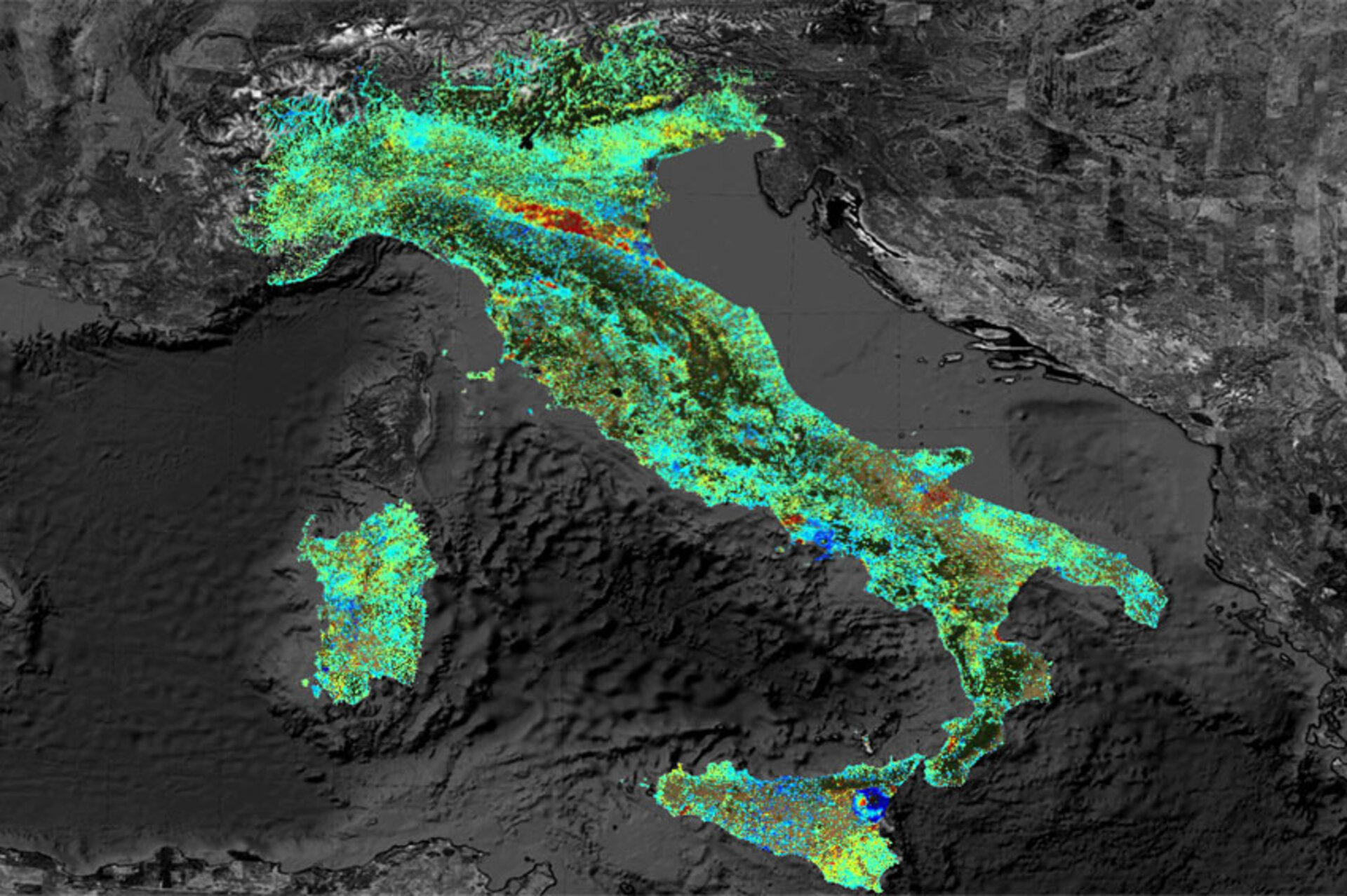 Subsidence of Italy
