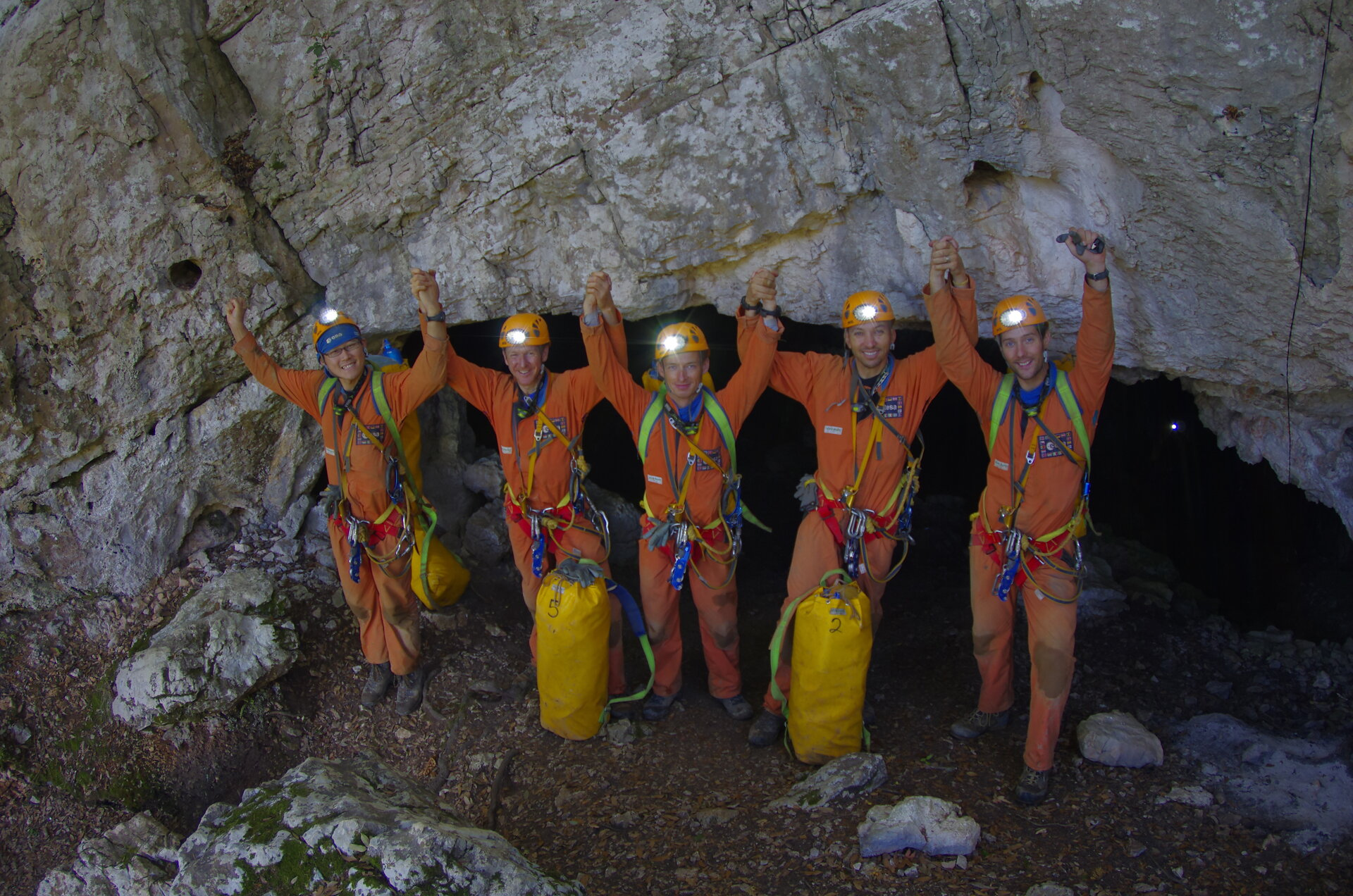 The caving team after return to the surface on 21 September.