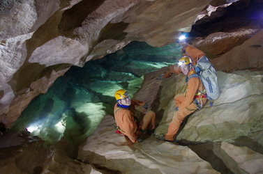 Three astronauts on the first caving day