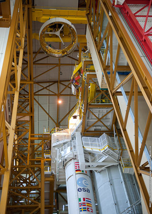 ATV-3 casing hoisted into position