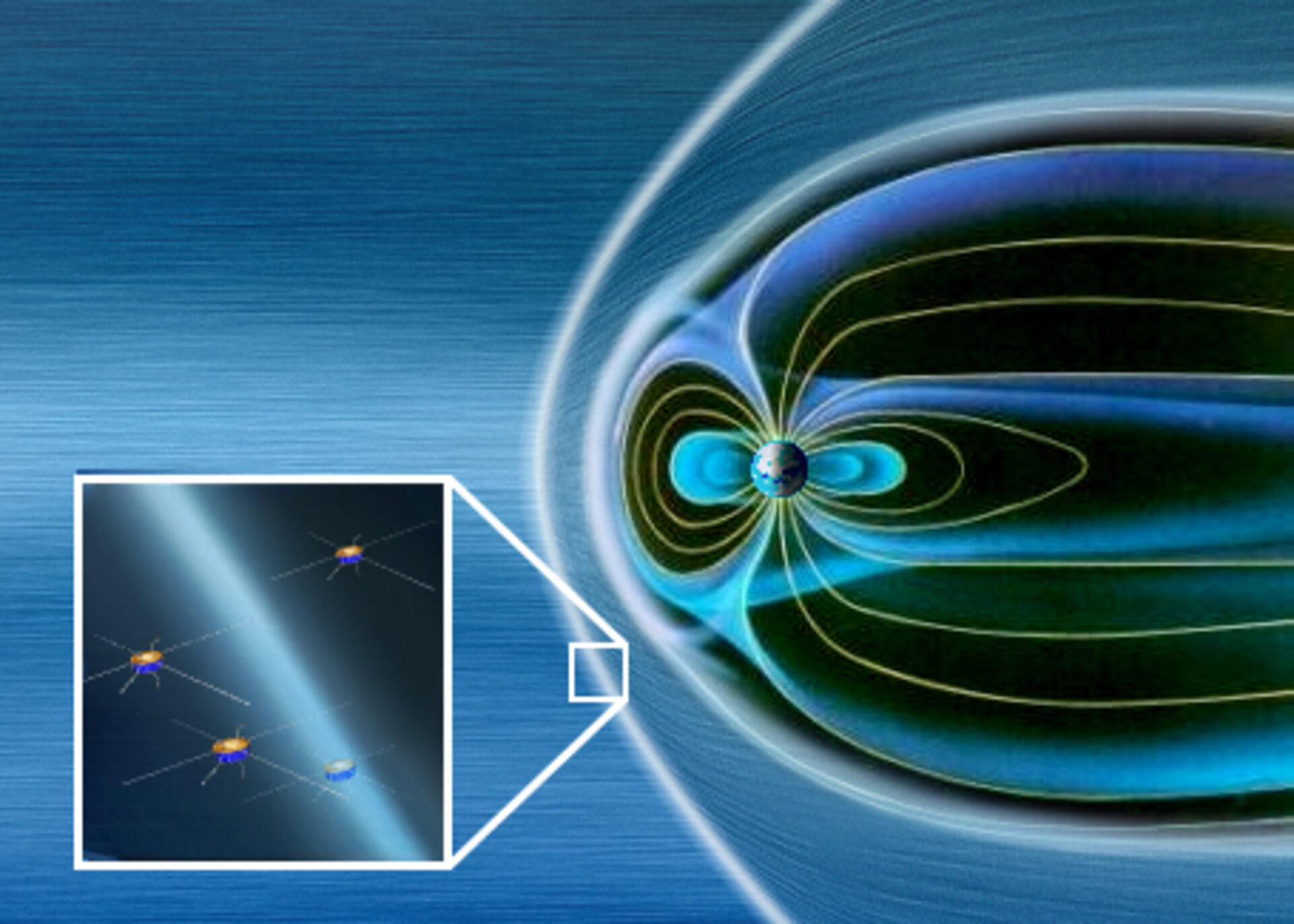 Cluster spacecraft encounter Earth's bow shock.