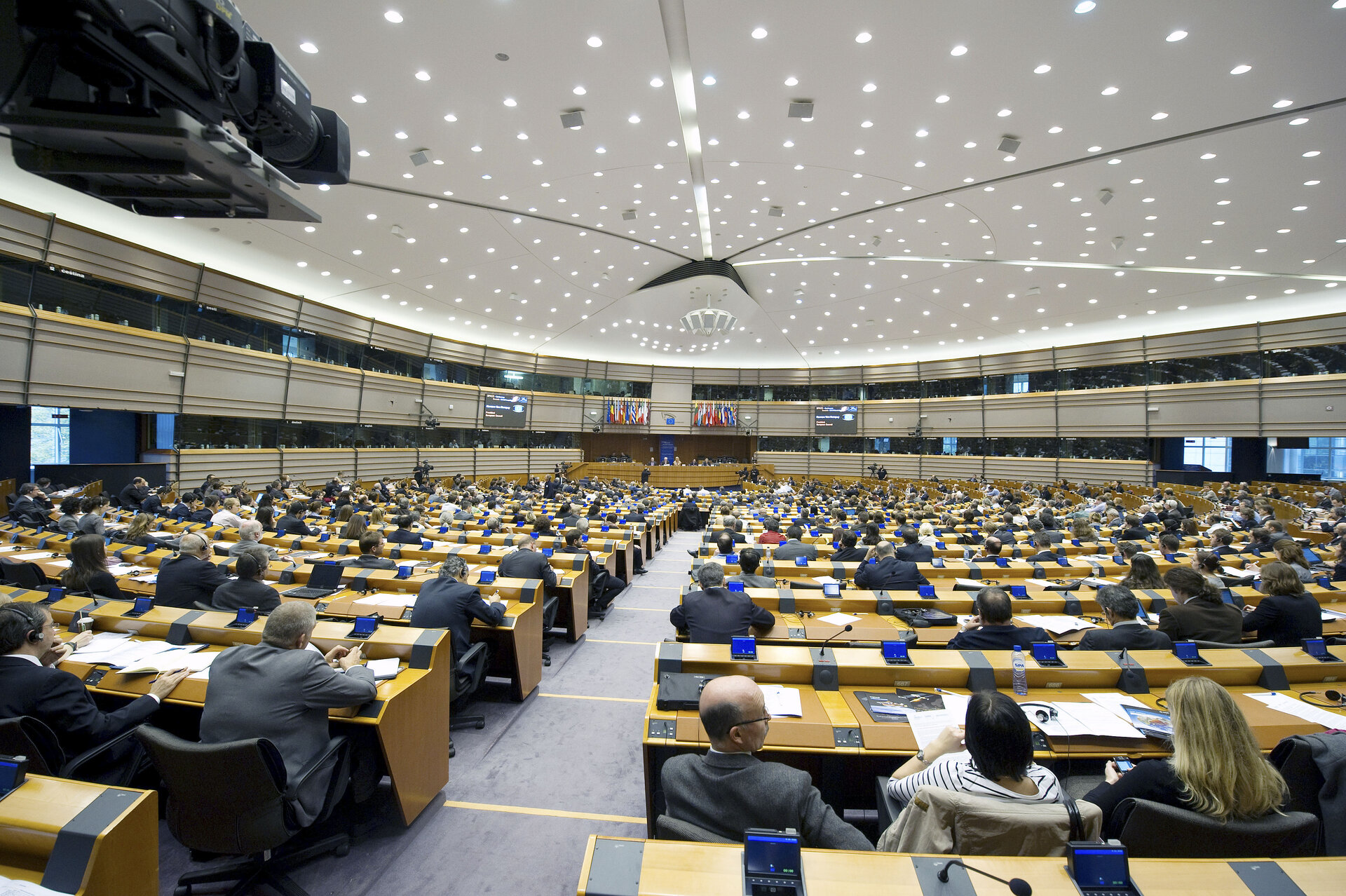 Hemicycle of the European parliament during the Conference on Space Policy for society and citizens