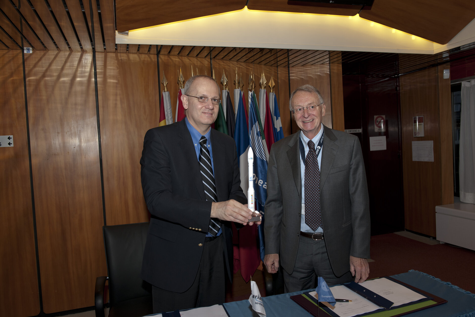 Jean-Yves Le Gall, CEO of Arianespace and Antonio Fabrizi, ESA Director of Launchers