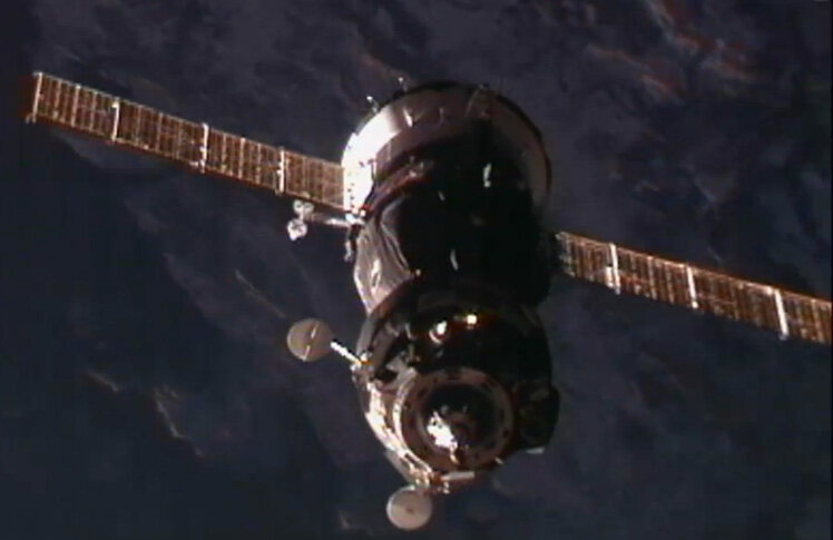 Soyuz spacecraft approaches Space Station