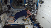 Andre Kuipers changing electronic module in ESA's Microgravity S
