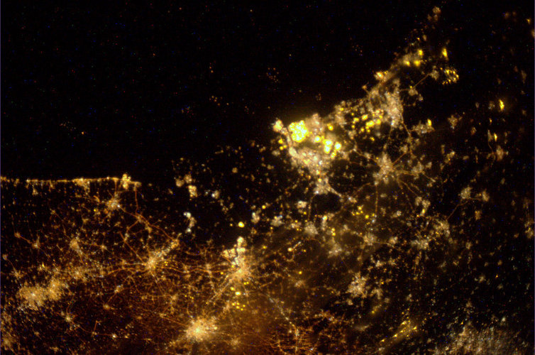 Holland by night, as seen from the ISS