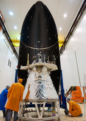 LARES, ALMASat-1 and CubeSats before encapsulation in fairing