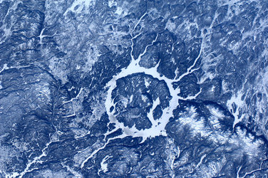 Manicouagan Impact crater, Canada, as seen from the ISS.