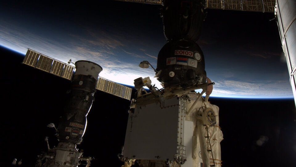 Progress and Soyuz spacecraft docked to Station