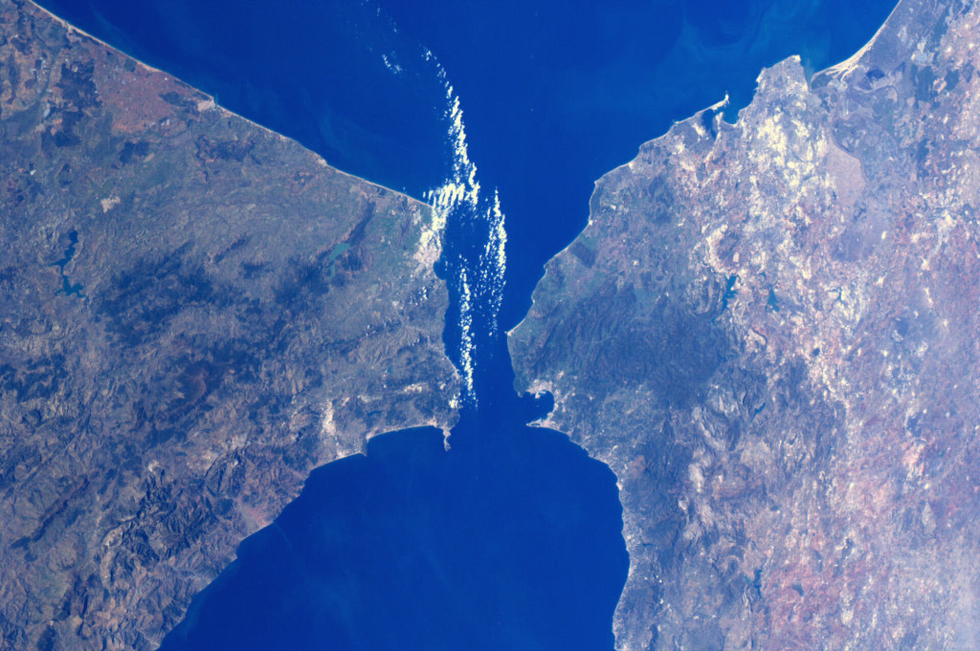 The Strait of Gibraltar, as seen from the ISS