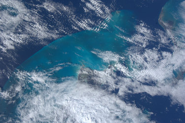Turquoise waters in the Bahamas, as seen from the ISS