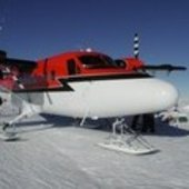 Twin propellor plane used to fly to concordia