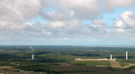 Vega, Soyuz and Ariane launch pads at Europe's Spaceport