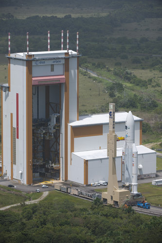 Ariane 5 with ATV Edoardo Amaldi transfer to launch pad