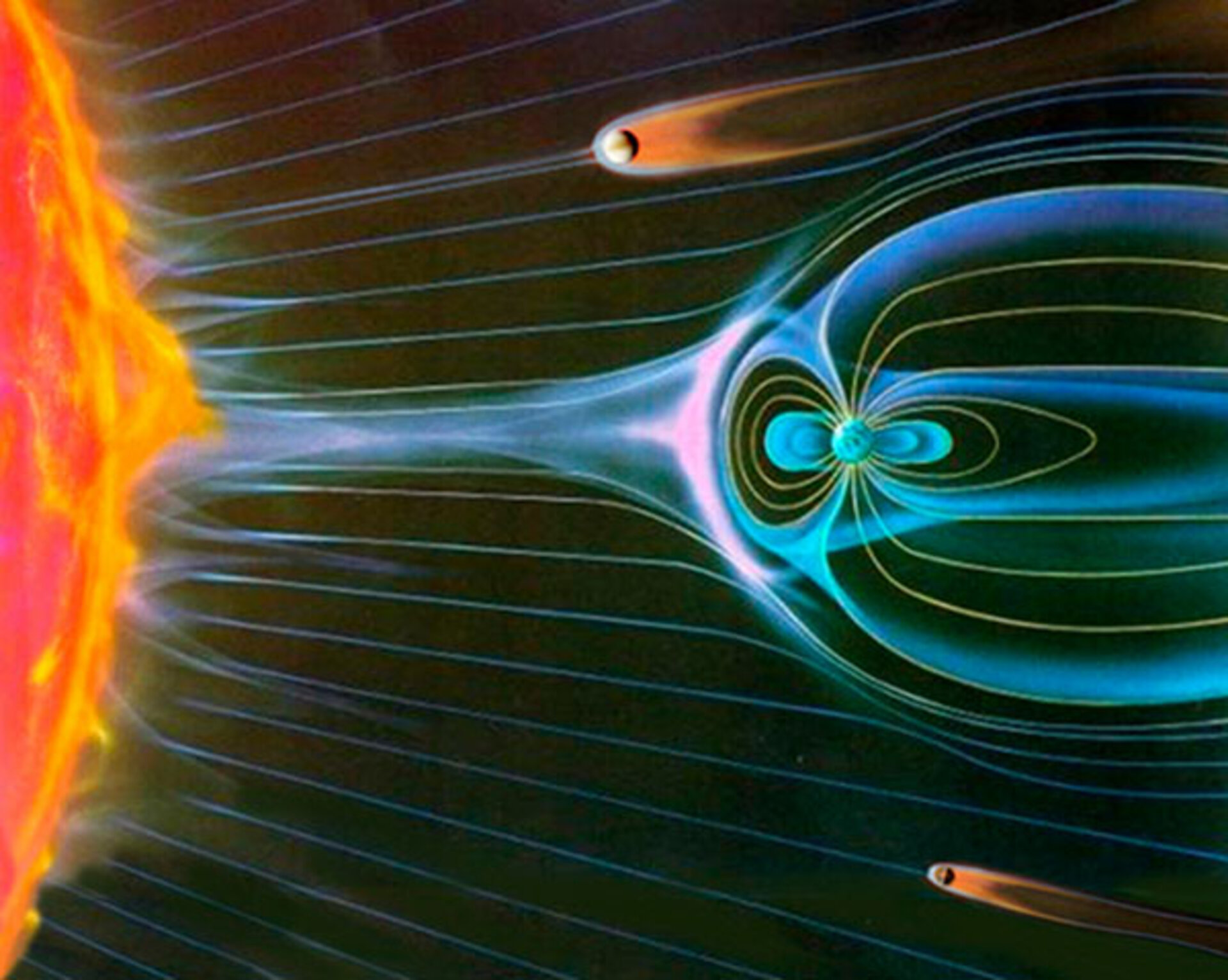 Artist's impression of Venus, Earth and Mars interacting with the solar wind.