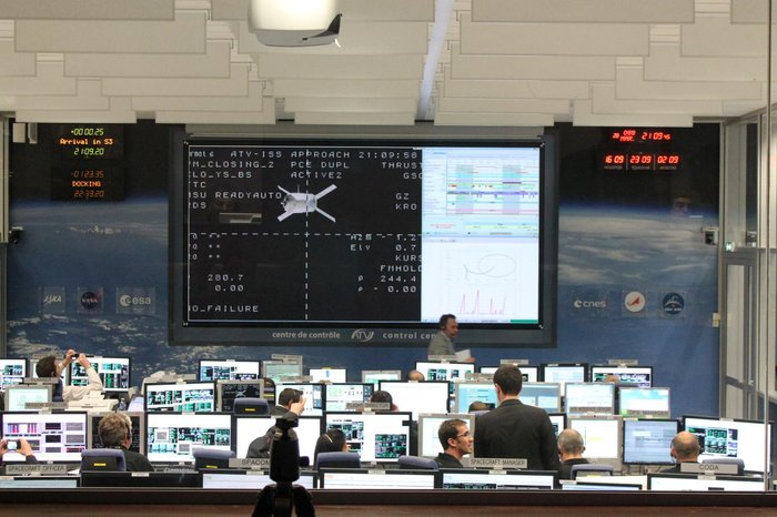 In 2012, a joint ESA/CNES mission control team were working 'on console' at the ATV Control Centre in Toulouse, France, to oversee the approach and docking of ESA's third Automated Transfer Vehicle, Edoardo Amaldi.