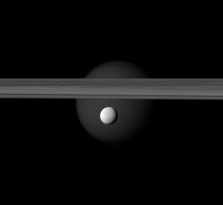 Saturn's rings, Titan and Enceladus