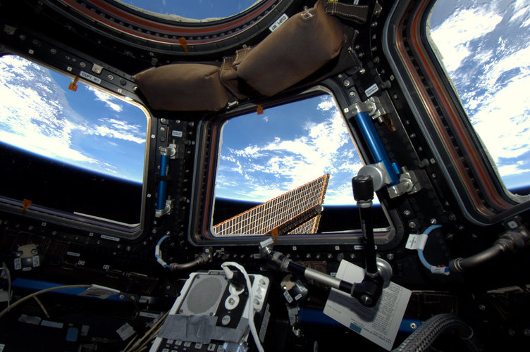 The Cupola and a view of Earth