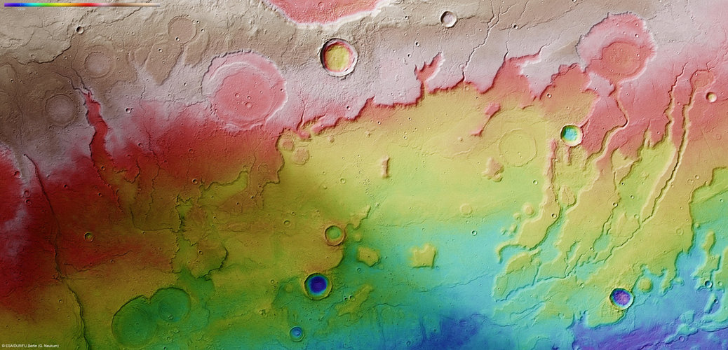 Topographical view of Acidalia Planitia