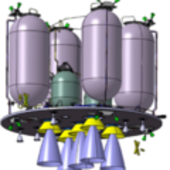 Lunar Lander fuel tanks and engines