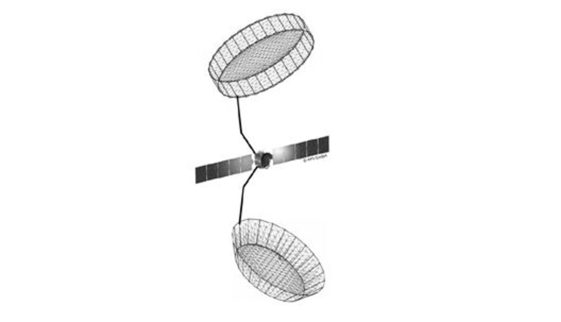 Spacecraft with large deflector antennas deployed