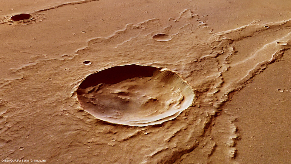 Melas Dorsa impact crater perspective view