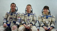 Tom, Sergey and Samantha during Soyuz training.