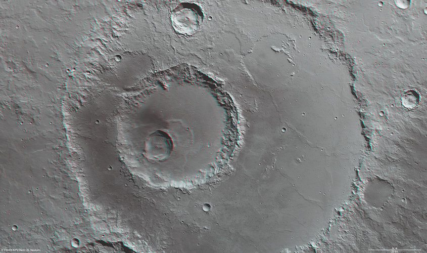 3D anaglyph view of Hadley crater