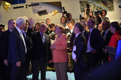Angela Merkel and Jean-Jacques Dordain visit the exhibition, ILA 2012