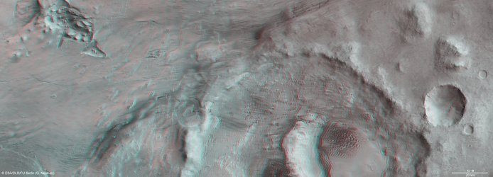 3D anaglyph view Hooke Crater