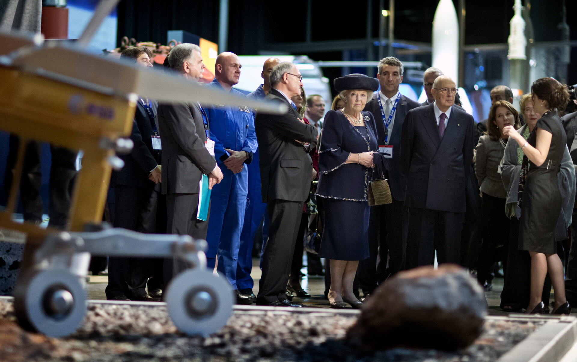 HM Queen Beatrix and Italian President Napolitano at ESTEC
