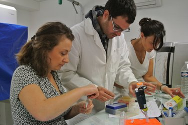 LINVforROS team preparing samples