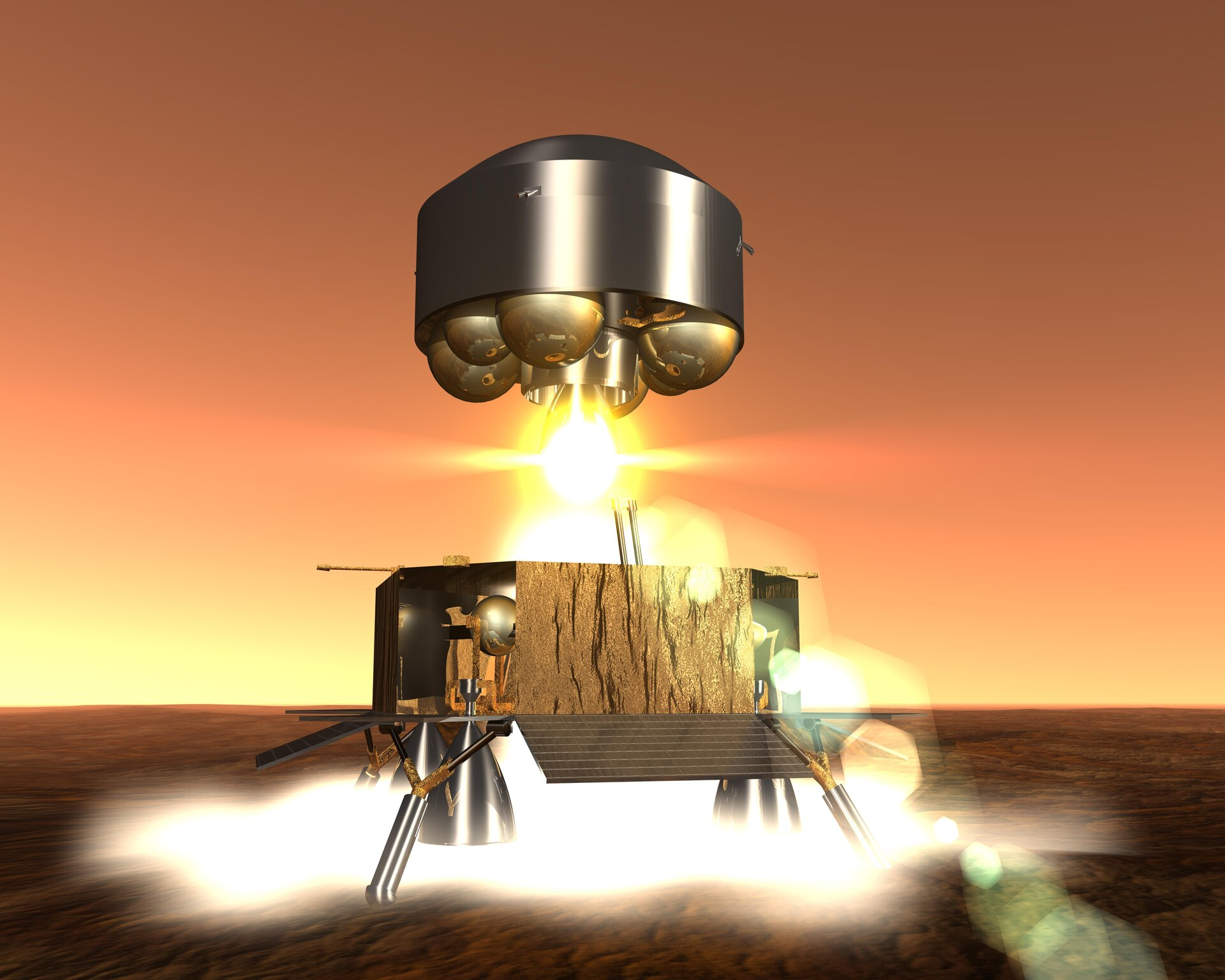Artist's view of the Mars Sample Return ascent module lifting off from Mars